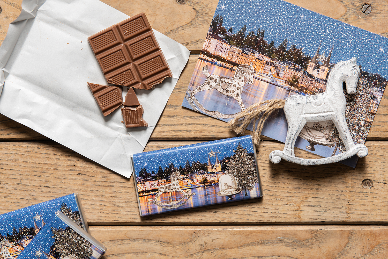 Schokolade 30 gm in besonderen Luzerner Verpackungen aus dem Hause Fotografik-Werk aus dem Bruchquartier Luzern